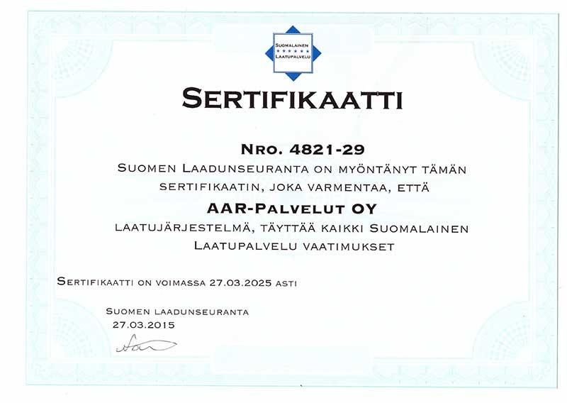 Laatujärjestelmä sertifikaatti